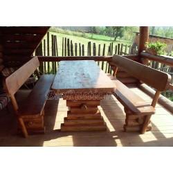 Set masa cu banci din lemn masiv